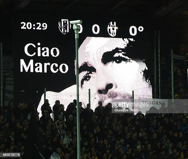 Picture in memory of Marco Pantani before the Serie A match between AC Cesena and Juventus FC at Dino Manuzzi Stadium on February 15, 2015 in Cesena,...