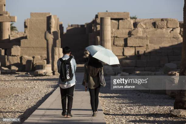 A picture issued on 24 December 2017 shows tourists visiting the Karnak Temple in Luxor Upper Egypt 08 December 2017 Photo Gehad Hamdy/dpa