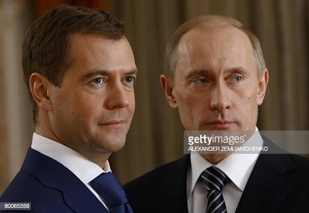 Picture made available on February 29 2008 shows Russian President Vladimir Putin and First Deputy Prime Minister and presidential candidate Dmitry...