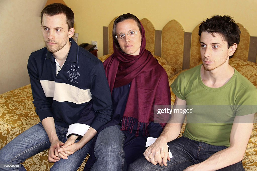 A picture obtained from Iran's state-run English-language Press TV shows detained US hikers (L-R) Shane Bauer, Sarah Shourd and Josh Fattal waiting to meet their mothers for the first time since their arrest, in the Iranian capital Tehran on May 20, 2010. The mothers of three US hikers detained for 10 months in Iran called for their release as a 'humanitarian gesture' after an emotional reunion with their children, an AFP correspondent said.