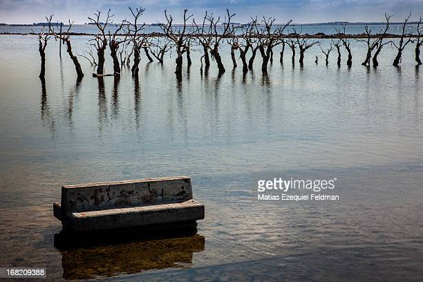 CONTENT] Picture of a bench and it reflection in the water Taken in Villa Epecuén a flooded city in Buenos Aires Argentina