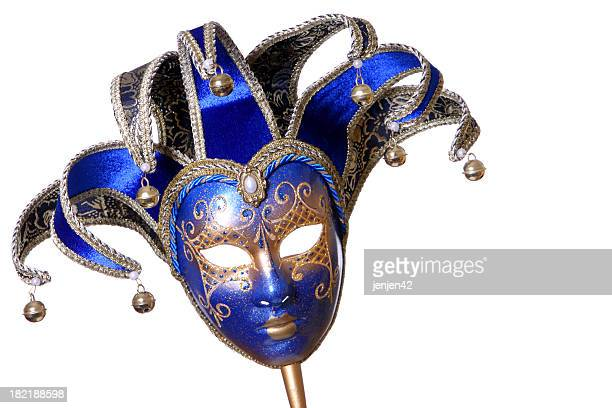 a picture of a blue and gold mask - mardi gras photos stock pictures, royalty-free photos & images
