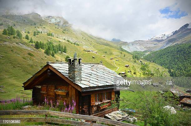 picture of a chalet near zermatt, swaziland - switzerland stock pictures, royalty-free photos & images