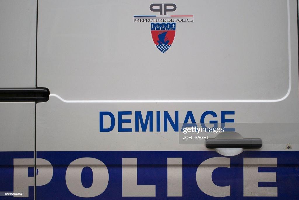 Picture of a demining police van taken on December 22, 2012 in Paris.