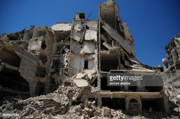Picture of a destroyed residential building taken in the Syrian city of Aleppo Syria 24 June 2017 Large swathes of the city mostly in eastern Aleppo...