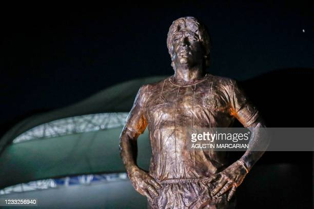 Picture of a five-metre statue of late Argentine football star Diego Armando Maradona taken after it was unveiled by members of the Argentine...