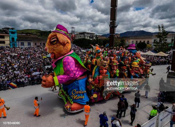 Picture of a float taken during the 'White Day' parade in Pasto Colombia on January 6 during the Carnival of Blacks and Whites the largest festivity...