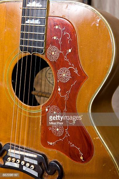 Picture of a Gibson acoustic guitar beloging to Chris Spedding, United Kingdom, 23rd January 2015.