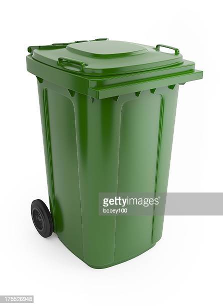 a picture of a large green rubbish bin with wheels on  - garbage bin stock pictures, royalty-free photos & images