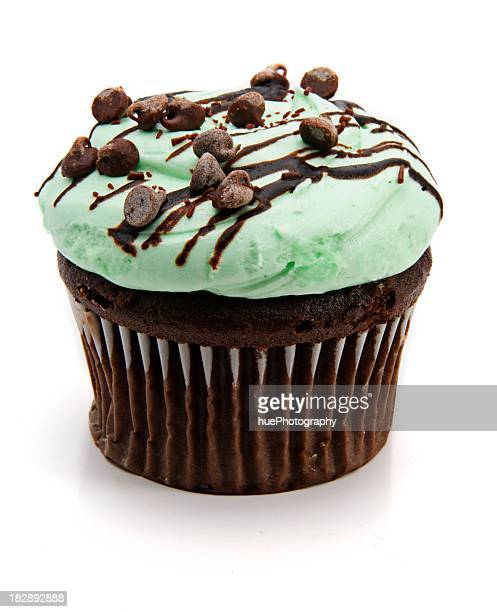 Picture of a mint cupcake with some chocolates on top