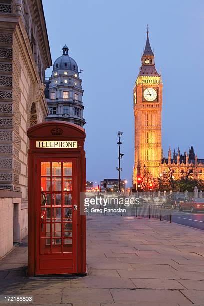 picture of a red phone booth with big ben in the background - telephone booth stock pictures, royalty-free photos & images