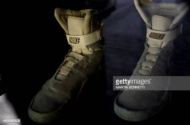 Picture of a replica of the sneakers that actor Michael J Fox used in the movie Back to the Future'' in 1985 being displayed during an anniversary...