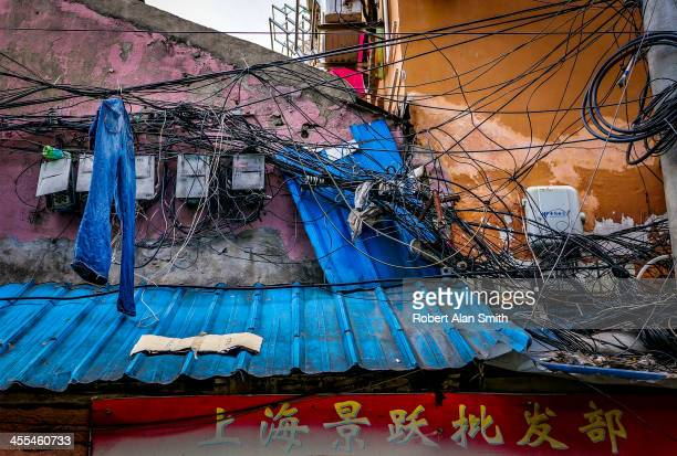 CONTENT] Picture of a rooftop in Shanghai showing a rats nest of telecom wiring