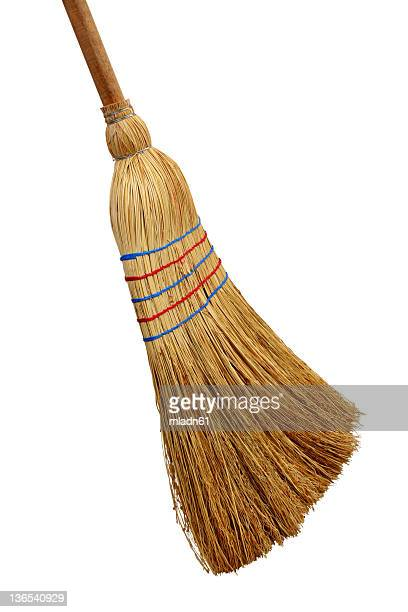 picture of a straw broom on a white background - broom stock pictures, royalty-free photos & images