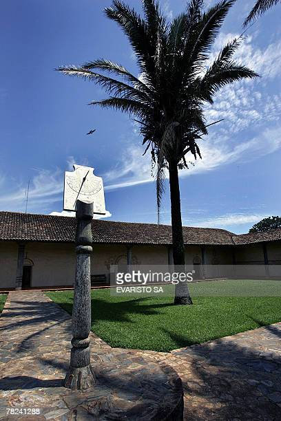 Picture of a sundial at the courtyard of the Jesuit Missions' church in San Javier, Chiquitos, Bolivia, some 220 km from Santa Cruz de la Sierra, on...