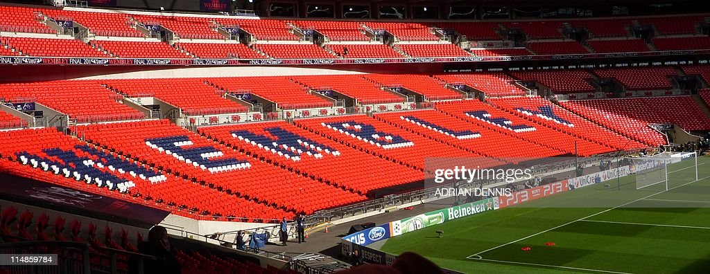 Picture of a tribune of Wembley stadium : News Photo