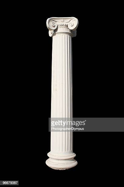 A picture of a white column against a black background