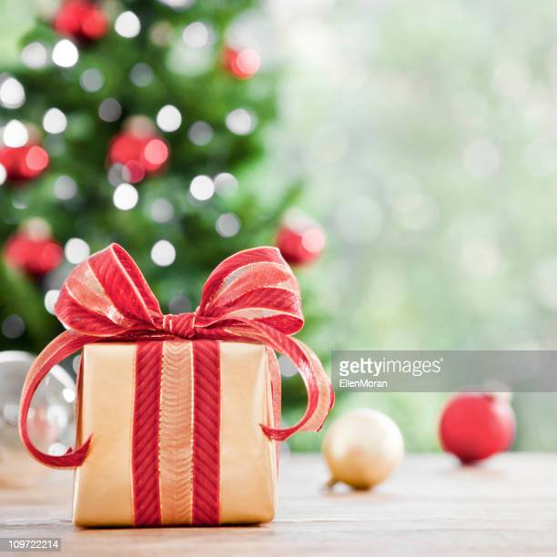 A picture of a wrapped Christmas gift