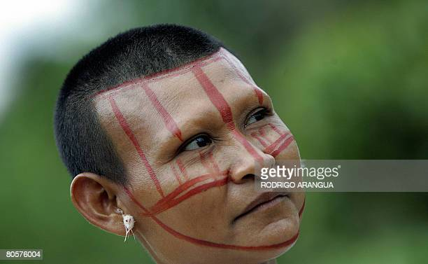 Picture of an indigenous woman belonging to the Nukak-Maku ethnic group, the last nomadic people of Colombia, taken on April 7 in a provisional...