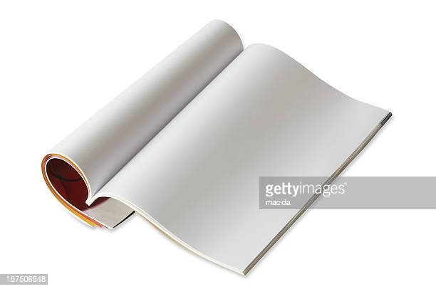 a picture of an open blank magazine - magazine page stock photos and pictures