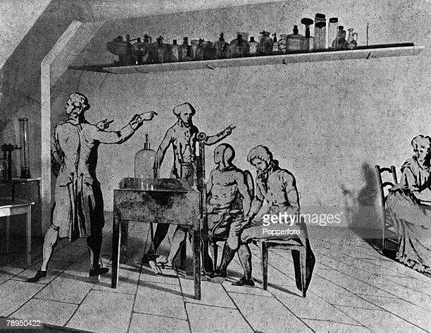 A picture of Antoine Laurent Lavoisier the French chemist is seen in his laboratory