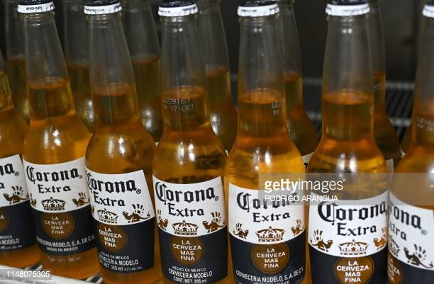 Picture of bottles of Mexican beer Corona taken in Mexico City on June 4 2019 Donald Trump faced fierce opposition Tuesday from his own Republican...