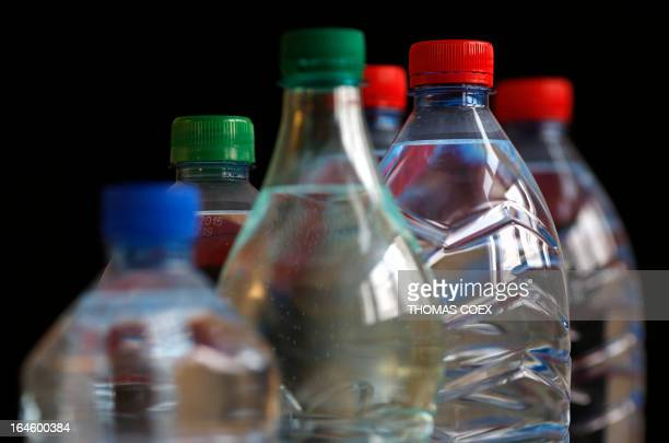 SNEGAROFF Picture of bottles of mineral water taken on March 24 2013 in Paris Traces of drugs and pesticides have been found in ten bottled mineral...