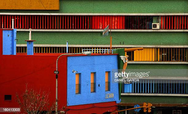 Picture of buildings on the north coast of the Riachuelo river in Buenos Aires' La Boca neighbourhood on August 18 2009 La Boca is widely known for...