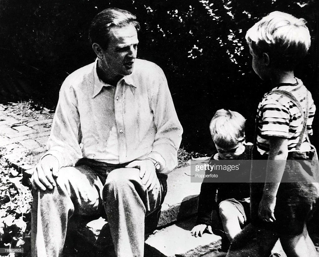 A picture of Cambridge educated Russian spy Donald MacLean, associated with a group of Cambridge Univerty spies including Guy Burgess, Kim Philby, John Cairncross and Anthony Blunt, pictured with his two sons