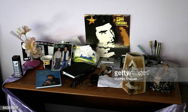A picture of Che Guevara stands among the belongings of Iraqi journalist Muntadhar alZeidi at his apartment in alRashid Street on December 16 2008 in...