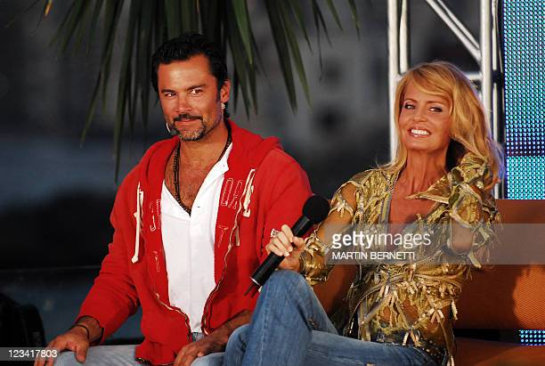 Picture of Chilean TV presenter and actor Felipe Camiroaga and Chilean television entertainer and former Miss Universe Cecilia Bolocco taken on...