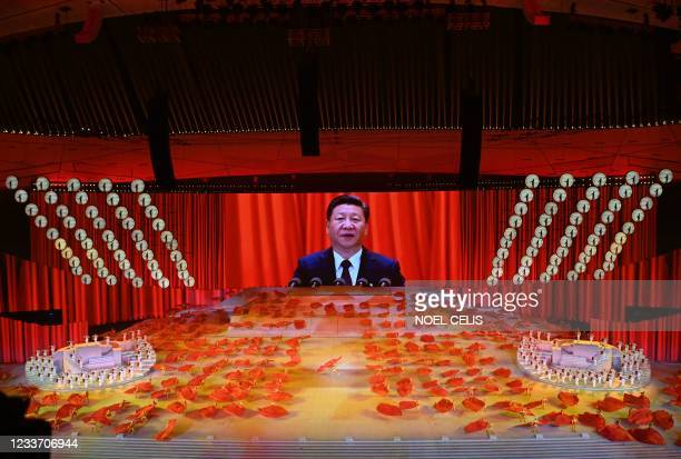 Picture of Chinese President Xi Jinping is seen on a large screen during a Cultural Performance as part of the celebration of the 100th Anniversary...