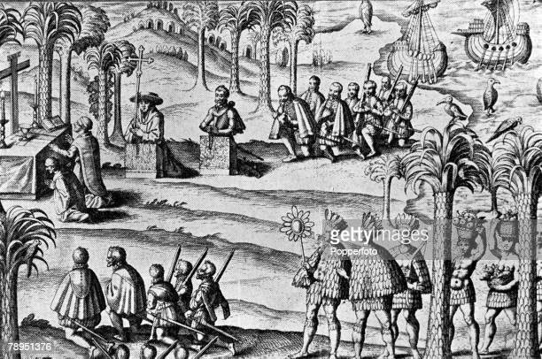 A picture of Christopher Columbus the Genovese explorer and discoverer of the New World at the first mass held in America from ' Nova Navigatio Novi...