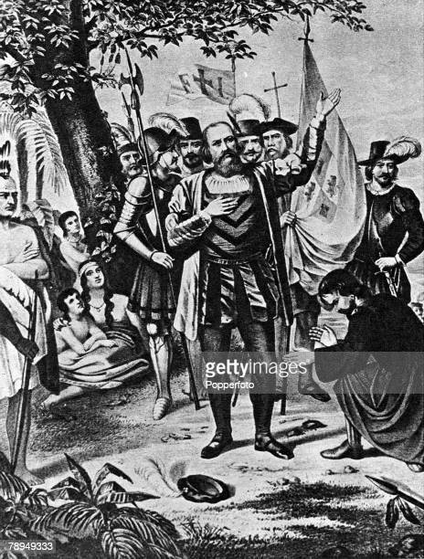 A picture of Christopher Columbus the Italian navigator and explorer in the service of Spain who discovered the New World in 1492 In the image...