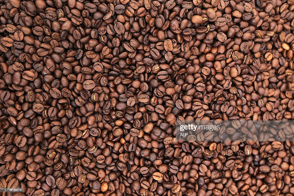Picture of coffee beans taken during the exhibition 'World of coffee', on June 27, 2013, in Nice, southeastern France.