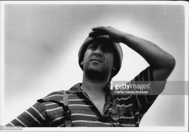 """Picture of Dick Bagnato the skipper of the fishing vessel, """"Seaport"""" contemplating heavy weather. January 03, 1992. ."""