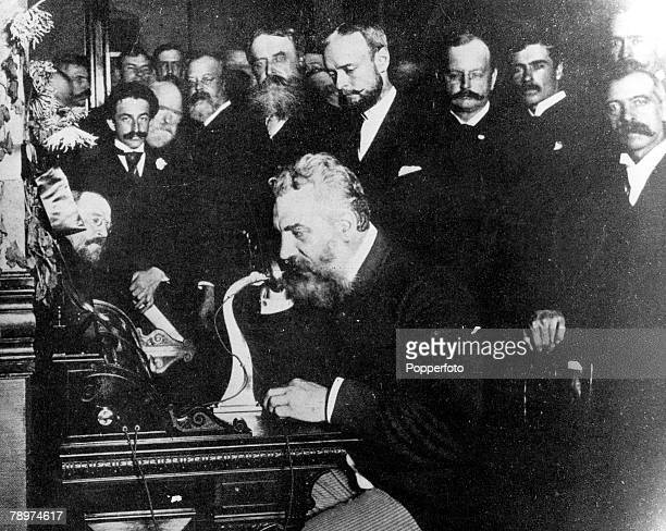 1882 USA A picture of Dr Alexander Graham Bell the US scientist born in Scotland who invented the telephone in 1876 seen here inaugurating the New...