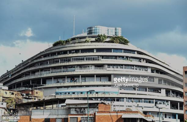 Picture of El Helicoide the headquarters of the Bolivarian National Intelligence Service in Caracas taken on May 17 2018