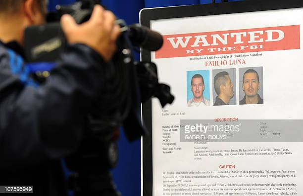 A picture of Emilio Luna a member of the Lost Boy network is seen on December 14 2010 in Los Angeles during a press conference after the Lost Boy...