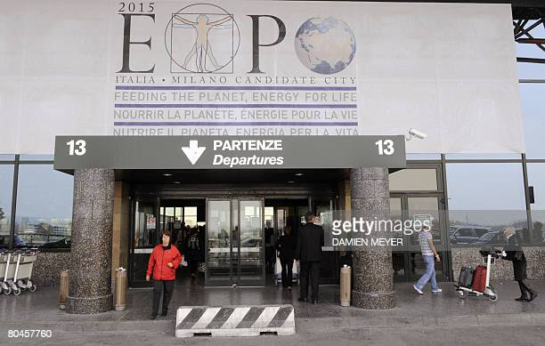 Picture of Expo 2015 logo at Malpensa Airport in Varese about 50 km nothern of Milan on March 30 2008 Milan won the right to host the Expo 2015 world...
