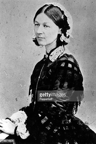 A picture of Florence Nightingale the English Nurse known as The Lady with the Lamp seen here in a picture taken during the Crimean War in which she...