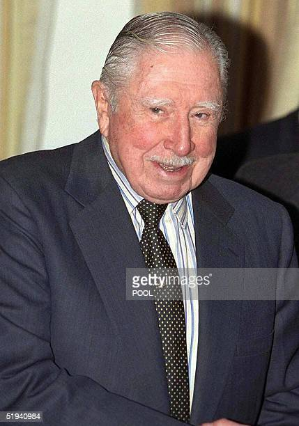 Picture of Former Chilean President, General Augusto Pinochet, taken 26 March 1999 in Wentworth in Surrey, in the UK. According to judicial sources,...