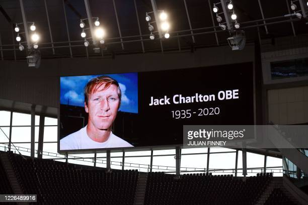 A picture of former international Jack Charlton is shown on a big screen before the English Premier League football match between Tottenham Hotspur...