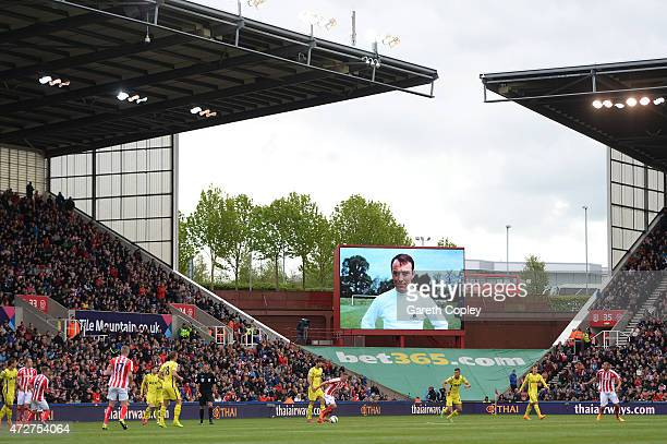 A picture of former Spurs player Jimmy Greaves is displayed on the big screen during the Barclays Premier League match between Stoke City and...