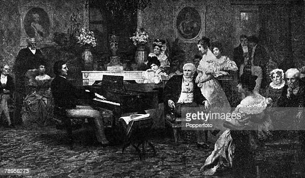 A picture of Frederick Chopin the Polish composer and pianist playing to Prince Radziwill at Posen