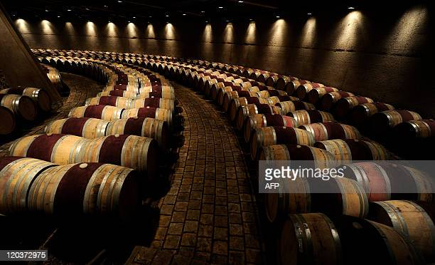 Picture of French and American oak wine barrels aging red wine at the familyowned winery Catena Zapata in Lujan de Cuyo 35 km from Mendoza in the...