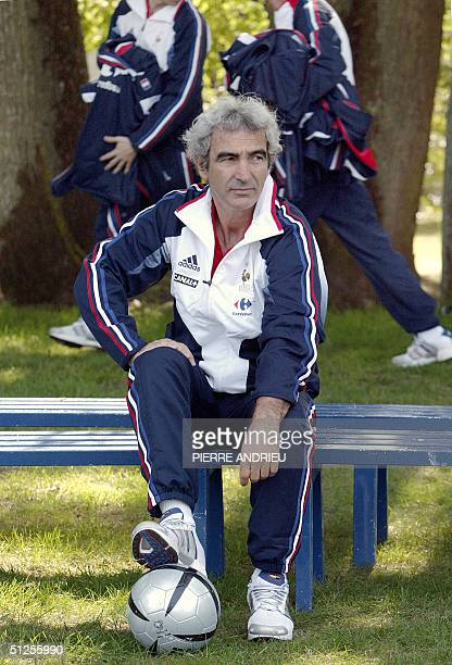 Picture of French coach Raymond Domenech taken 02 September 2004 in Clairefontaine during a presentation of football French team members two days...