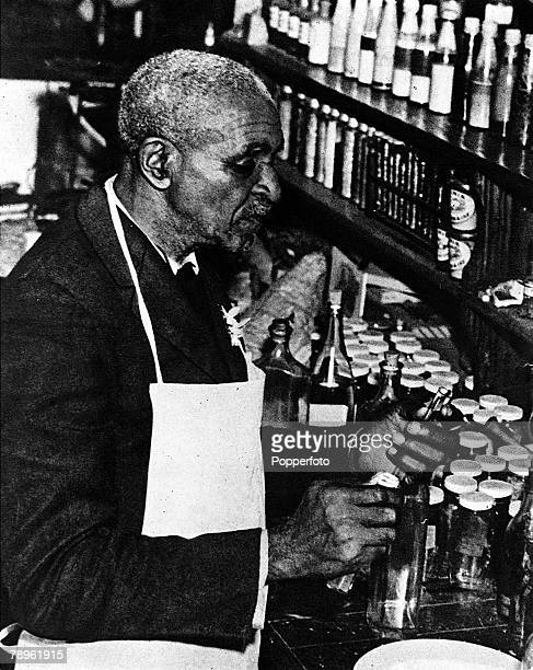 A picture of George Washington Carver the US botanist Agricultural chemist and scientist seen here in his laboratory at Tuskegee