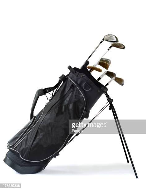 A picture of golf clubs in a black bag