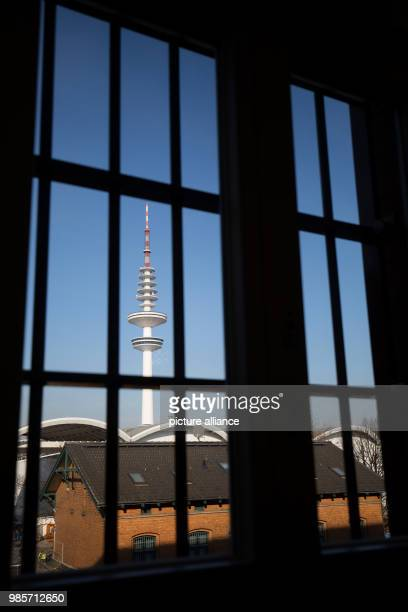 Picture of Hamburg's Television Tower seen through the barred window of a renovated cell in the recently renovated Bwing of the Holstenglacis remand...